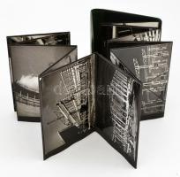 cca 1955 Üzemcsarnok építése, 24 db vintage fotó, leporellós fotóalbumba beragasztva, 11,7x8,7 cm