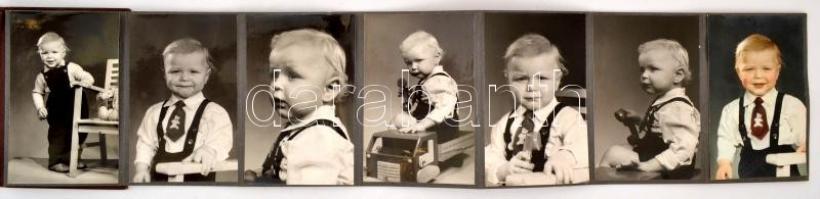 cca 1958 Fővárosi Foto Vállalat leporellós fotóalbumba beragasztva, 10 db vintage fotó egy gyermekről, 13,3x8,3 cm