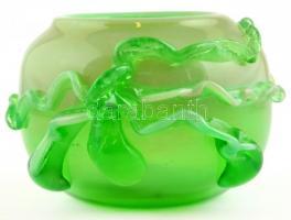 Zöld díszváza hutaüveg. Jelzés nélkül. d:16 cm, m: 10 cm