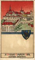 Budapest I. Budai Királyi vár Mátyás idejében. Geittner és Rausch kiadása, Art Nouveau litho
