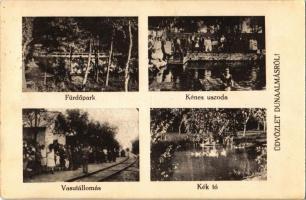 Dunaalmás, fürdőpark, kénes uszoda, vasútállomás érkező vonattal, Kék tó