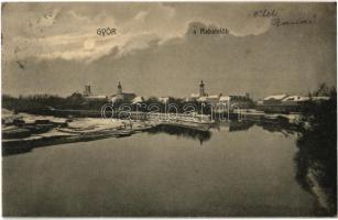 1913 Győr, A Rábafelőb (Rába télen). Polgár Bertalan kiadása
