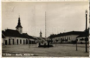 1942 Zsibó, Jibou; Horthy Miklós tér, Dizmacsek hentes és mészáros, Katz Adolf üzlete / square, butcher, shop