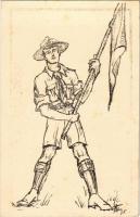 Cserkész Levelező-Lap / Hungarian scout art postcard s: Petzy