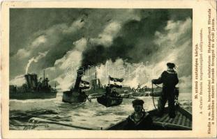 1916 39. számú csataképes kártya. A Curie francia tengeralattjáró elsüllyesztése. Kiadja a m. kir. honvédelmi minisztérium Hadsegélyező Hivatala / K.u.K. Kriegsmarine / WWI Austro-Hungarian Navy naval battle, sinking of Curie French submarine s: Harry Heusser (EK)