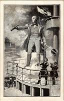 Wilhelm von Tegetthoff, Vizeadmiral und Kommandant K.u.K. Kriesgmarine / Austro-Hungarian Navy admiral, naval flag, mariners, marine officers (EK)