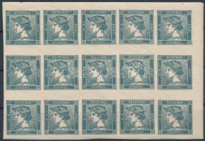 Reprint 1904, slate blue, corner block of 15 with original gum. Certificate: Strakosch, Hírlapbélyeg 0,6kr 1904-es palakék újnyomata, ívsarki 15-ös tömb teljes gumival Certificate: Strakosch