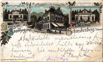 1898 Budapest XII. Svábhegy, Schwabenberg; Szakál László fűszerüzlete, Svábhegy Szálloda, Gyógyszertár és posta. Schvidernoch Ágoston Art Nouveau, floral, litho (r)
