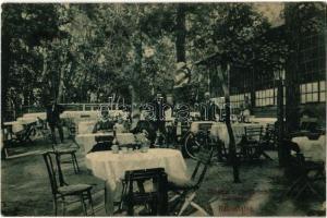 1914 Budapest XIV. Rákosfalva, Sárga csikó vendéglő kertje, kerékpáros. Ifj. Sáska István kiadása (fa)