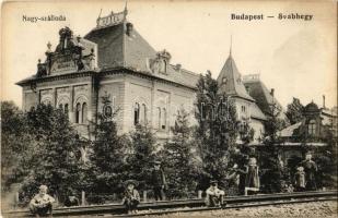 Budapest XII. Svábhegy, Nagy szálloda, gyógyszertár, síneken ülő gyerekek