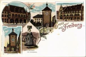 Freiburg im Breisgau, Martinsthor, Kaufhaus, Schwabenthor, Rathhaus, Braut- u. Festtracht vom Schwarzwald / gates, shopping house, town hall, folklore.Louis Glaser Art Nouveau, floral, litho