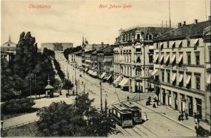 Oslo, Christiania, Kristiania; Karl Johans Gade / street, Grand Hotel, trams