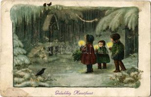 1924 Gelukkig Kerstfeest! / Christmas greeting Children art postcard. A.R. Nr. 1388. s: Pauli Ebner (EK)