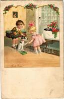 1937 Children art postcard. A.G.B. No. 4064. s: Pauli Ebner (EK)