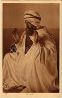La priere. Lehnert & Landrock. No. 185. phot. Tunis / Old Jewish man praying. Judaica