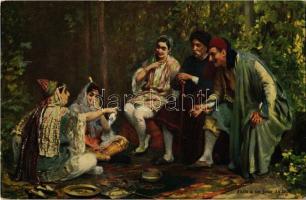Juifs a un jour de fete / Jews on a feast day. R. & J. D. Serie T.O. 14. Judaica art postcard
