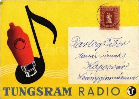 Tungsram Radio / Hungarian light bulb advertisement postcard s: Macskássy (EK)