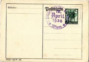 1938 April 10. Ein Volk Ein Reich Ein Führer. NSDAP German Nazi Party propaganda postcard, swastika. Omega Lager Nr. 1601. 6 Ga. + 1938 Ein Volk Ein Reich Ein Führer Wien So. Stpl. (EK)