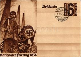1934 Nationaler Feiertag / NSDAP German Nazi Party working class propaganda, swastika + 6 Ga.