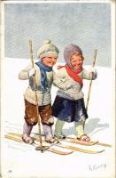 1910 Skiing children, winter sport art postcard. T.S.N. 2783-5. s: K. Feiertag (EK)
