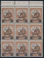 1931 Kisegítő bélyegek (I.) 20f A fogazással ívszéli 9-es tömbben (4.000)