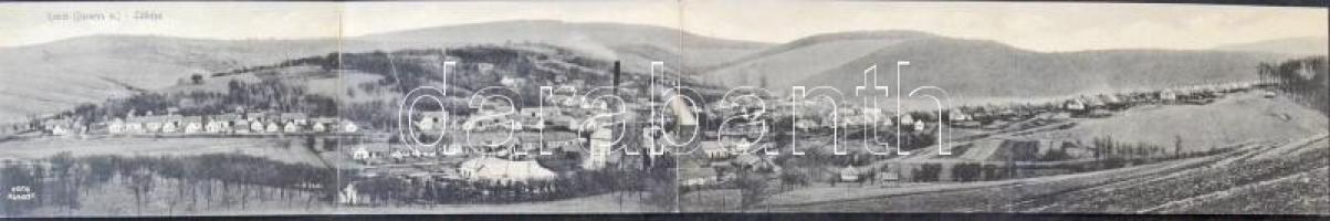 1927 Komló (Baranya m.), bánya, fűrésztelep, kolónia. Foto Kunszt, négy-részes kinyitható panorámalap / 4-tiled folding panoramacard
