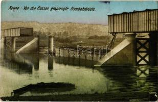 Kaunas, Kowno; Von den Russen gesprengte Eisenbahnbrücke / railway bridge destroyed by the Russians in WWI (EK)