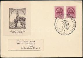1941 Dunántúli Bélyeggyűjtők Egyesülete levélzáró levelezőlapon / Postcard with label