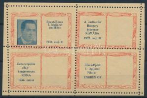 1932 Budapest-Róma-Budapest emlékív / souvenir sheet