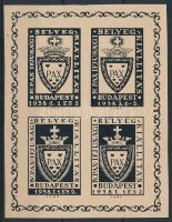 1938 IV. PAX Ifjúsági bélyegkiállatás emlékív / souvenir sheet