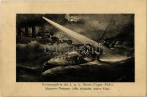 1910 Nachtmanöver der K.u.K. Österr.-Ungar. Flotte, K.u.K. Kriegsmarine / Manovre Notturne della Squadra Austr.-Ung. / Austro-Hungarian Navy, night maneuver with pre-dreadnought battleship and torpedo boat. C. Fano, Pola 1910-11. 5991. s: Kappler