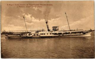 M. kir. Folyam- és Tengerhajózási Rt. I. Ferencz József termes gőzöse. Klösz György és Fia / Hungarian sidewheeler passenger steamship
