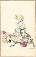 1918 Children art postcard, girl with toy clown. N.P.G. 1002/4. s: E. Weber