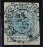 9kr HP I greyblue stamp, plate flaws