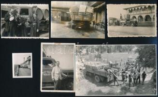 Teherautók vegyes tétele, eltérő időpontokban és különféle helyszíneken készült 7 db vintage fotó, 4,5x3,5 cm és 17x24 cm között