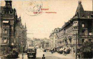 1911 Budapest II. Margit körút, villamosok, Margitpark Kávéház, háttérben a Rózsadomb (fa)