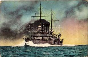 SMS Árpád az Osztrák-Magyar Haditengerészet Habsburg-osztályú csatahajója / K.u.K. Kriegsmarine Schlachtschiff / SMS Árpád Austro-Hungarian Navy Habsburg-class pre-dreadnought battleship. R. Marincovich, Pola, Nr. 1. (EK)