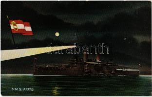 SMS Árpád az Osztrák-Magyar Haditengerészet Habsburg-osztályú csatahajója este / K.u.K. Kriegsmarine Schlachtschiff / SMS Árpád Austro-Hungarian Navy Habsburg-class pre-dreadnought battleship at night, naval flag. G. Fano, Pola 1908/9. No. 23.