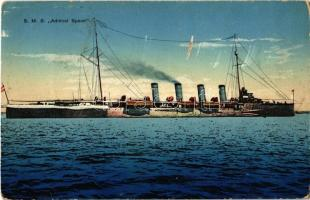 SMS Admiral Spaun az Osztrák-Magyar Haditengerészet gyorscirkálója / K.u.K. Kriegsmarine / WWI Austro-Hungarian Navy light cruiser SMS Admiral Spaun. Druck v. M. Schulz. G. Costalunga, Pola 1914/15. (EK)
