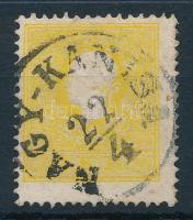"2kr sulphur yellow, strongly shifted perforation ""NAGY-KANISA"" Certificate: Steiner, 2kr II. tipus kénsárga színű elfogazott bélyeg ""NAGY-KANISA"" Certificate: Steiner"