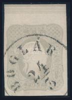 Grey newspaper stamp with large upper margin