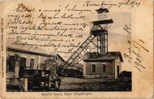 1906 Rákosbánya, Rákosská Bana (Gömörrákos, Rákos); szállító torony a bánya telepen. Matz Gusztáv kiadása / mine, transport tower (EK)