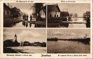 1934 Jászdózsa, Az Apponyi út víz alatt, árvíz az Ér utcában, megáradt Torna a község felső részén, katonaság robbantja a méteres jeget. Breznyák Gáborné dohánytőzsde kiadása