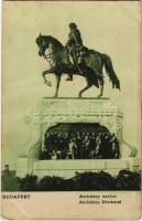 1908 Budapest V. Gróf Andrássy Gyula szobor koszorúkkal (EK)