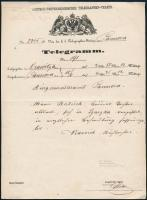 Telegramm Orawitza - Pancsova, Távirat Orawitza - Pancsova