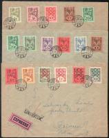 Nagyvárad II. 1945 17 db bélyeg - majdnem teljes sor, a 20P 2x 3 db expressz levélen Debrecenbe, cenzúrázva. Nagyon ritka! / 17 stamps (2 x 20P) on 3 express covers to Debrecen, RRR! Signed: Bodor