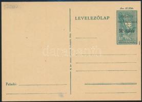 Székelyudvarhely 1944 50f/18f díjjegyes levelezőlap, használatlan / Unused PS-card. Signed: Bodor