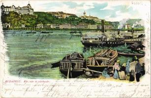1901 Budapest I. Királyi várbazár és vár a pesti rakpartról nézve