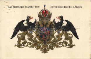 Das mittlere Wappen der Österreichischen Länder / The middle coat of arms of the Austrian countries. Offizielle Karte für Rotes Kreuz, Kriegsfürsorgeamt Kriegshilfsbüro Nr. 285. s: Ströbl