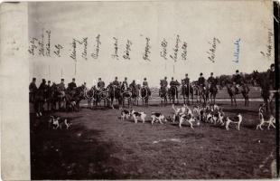 1910 Cegléd, vadászat lovas katonákkal és vadászkutyákkal. photo (EK)